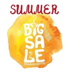 Summer big Sale letteringTee Shirtwatercolor vector image