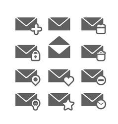 Different mailing web icons isolated on white vector image vector image