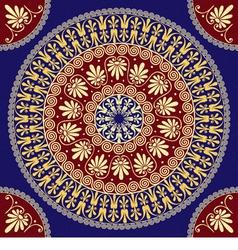 seamless vintage golden round Greek ornament Meand vector image