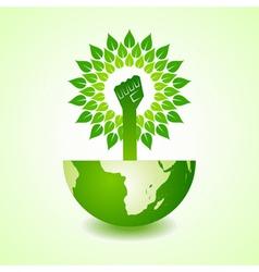 unity hand make tree on earth vector image