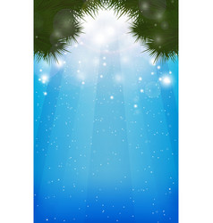 winter blurred background with christmas-tree vector image vector image
