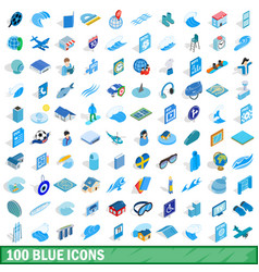 100 blue icons set isometric 3d style vector image