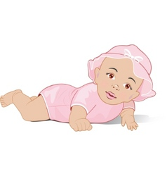 a baby girl lying on her stomach vector image