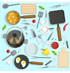 Chef Workplace Top View Set vector image vector image