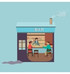 Friends sitting in bar Winter vector image vector image