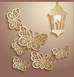 paper graphics of lace butterflies vector image