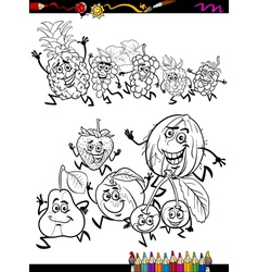 running fruits set cartoon coloring page vector image vector image