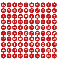 100 events icons hexagon red vector image