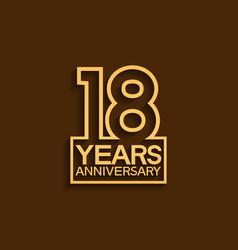 18 years anniversary design line style vector