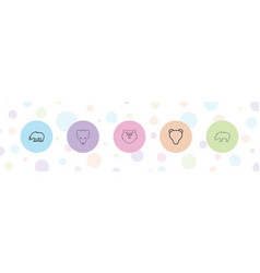 5 grizzly icons vector