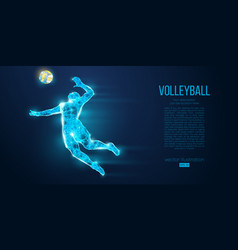Abstract silhouette volleyball player man ball vector