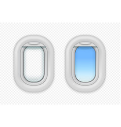 airplane open windows realistic aircraft porthole vector image