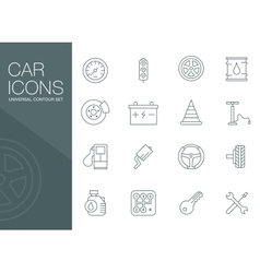 Auto mechanic related icons silhouettes vector image