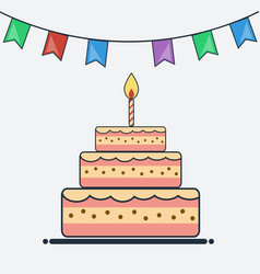 birthday cake and bunting flags flat design vector image