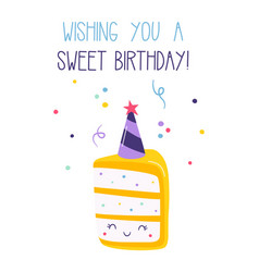 Birthday card with piece cake and confetti vector