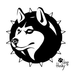 black and white image of the head of a dog vector image