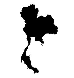 Black silhouette country borders map of thailand vector