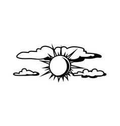 Black white sun and clouds vector