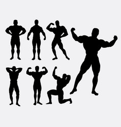 body building male sport silhouette vector image