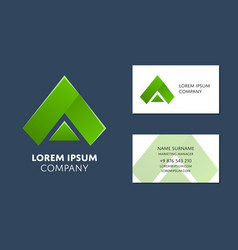 business card template with green triangle logo vector image
