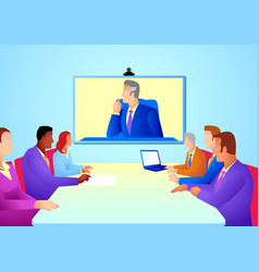 Business people having teleconference meeting vector