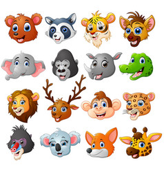 cartoon animal head collection set vector image