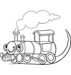 cartoon locomotive or engine coloring page vector image