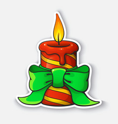 cartoon sticker with christmas candle with ribbon vector image