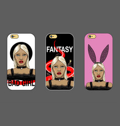 Case for phone with fashion girl vector