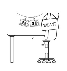 Chair with vacant poster hanging in office vector