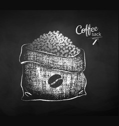 Chalk drawn sketch sack with coffee beans vector