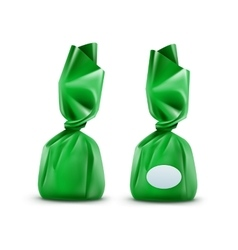 Chocolate Candy in Green Wrapper on Background vector image