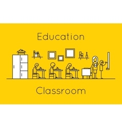 Classroom education thin line concept vector