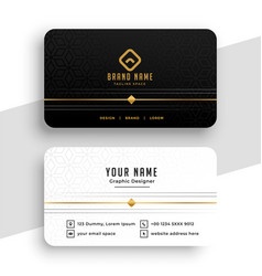 clean black white and golden business card design vector image