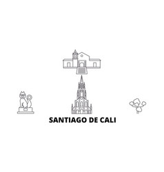 Colombia santiago de cali line travel skyline set vector