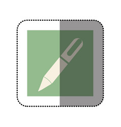 color sticker square with pen icon vector image