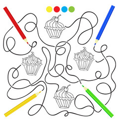 coloring page with cupcake drawing game for vector image