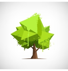 Conceptual polygonal tree with paint splashes vector