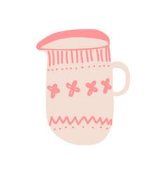 Creamer milk jug for coffee or tea cute ceramic vector