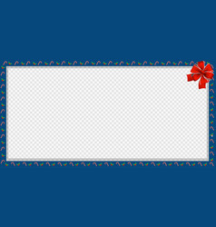 Cute christmas or new year border with candy cane vector