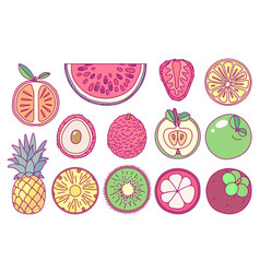 cute drawn fruits set vector image