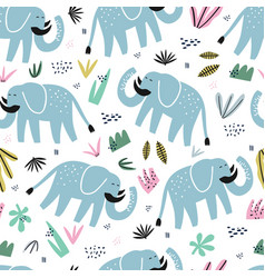 cute elephant hand drawn color seamless pattern vector image