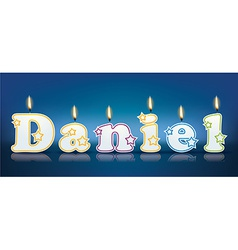 DANIEL written with burning candles vector