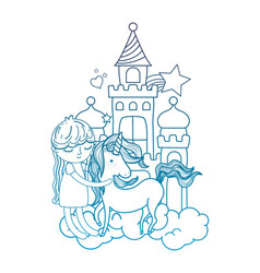 Degraded outline girl with unicorn in the castle vector