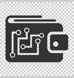 Digital wallet icon in flat style crypto bag on vector