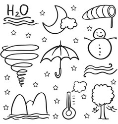 Doodle of weather object set vector