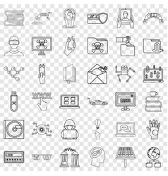 Elearning icons set outline style vector