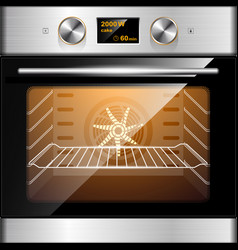 Electric oven in stainless steel and glass vector