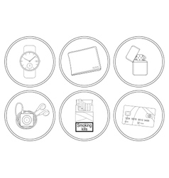 Every day carry detailed linear icons set vector image