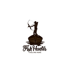 Fish hunter logo vector